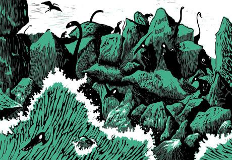Les Derniers dinosaures, Donatien Mary & Didier de Calan, planche pages 54-55